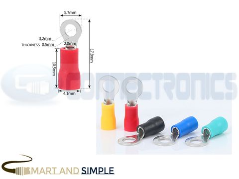 Ring Terminals Crimp Connector Ring Tongue Terminal  22-16AWG  0.5-1.5mm2 SS-RV1.25-3.2 for M3 screw copy.jpg