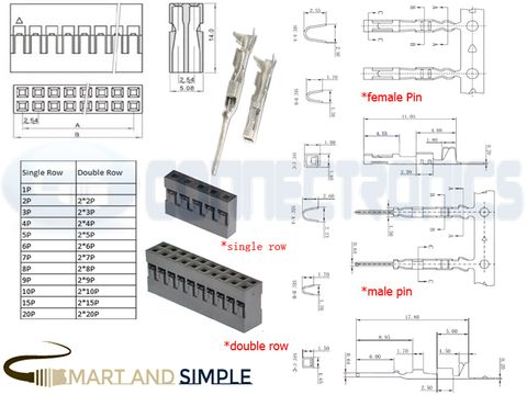 2.54mm pitch Pin socket Connector housing AWG28-22 3A 250V dupont .jpg