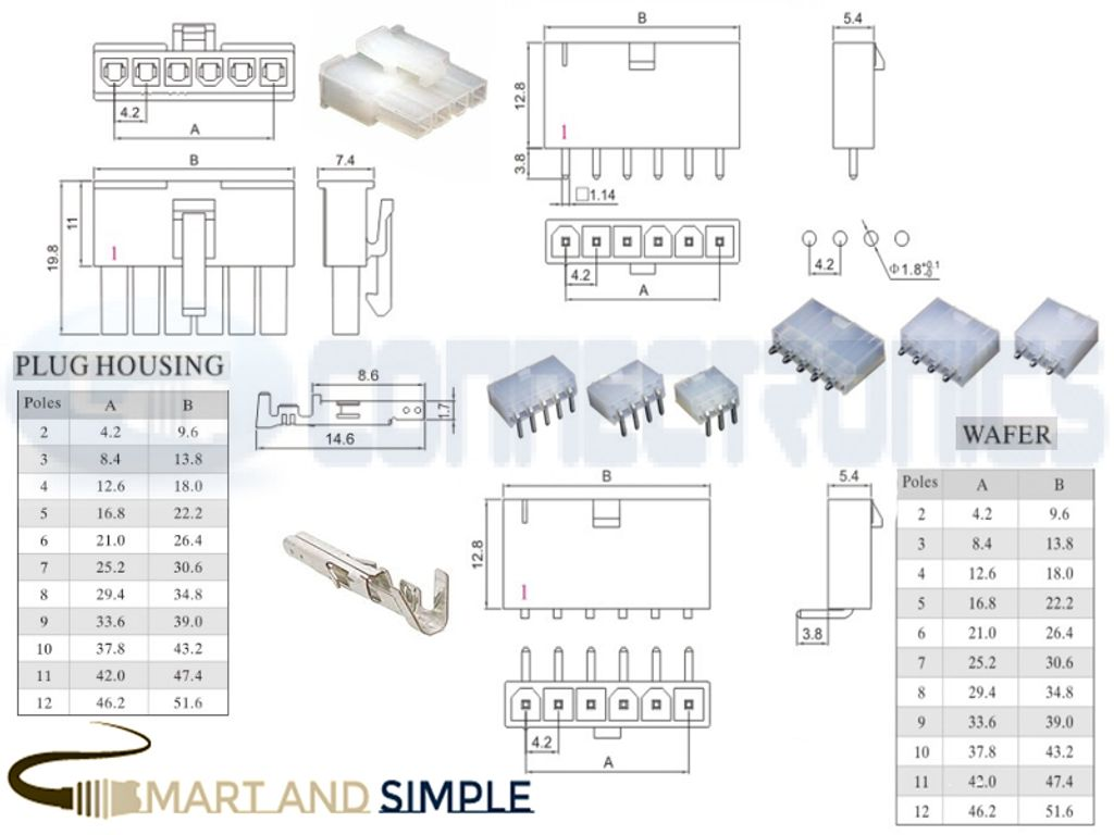 4.2mmm pitch Pin header Connector wire-board single row AWG30-18 9A 300V  5557  5559 .jpg