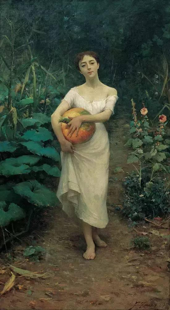 Zonaro《Young Girl Carrying a Pumpkin》.jpg