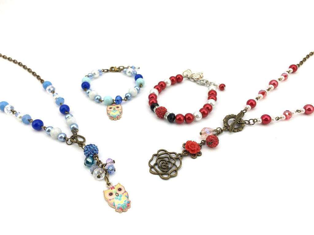 Mother and Daughter Handmade Necklace and Bracelets Set for Cathy
