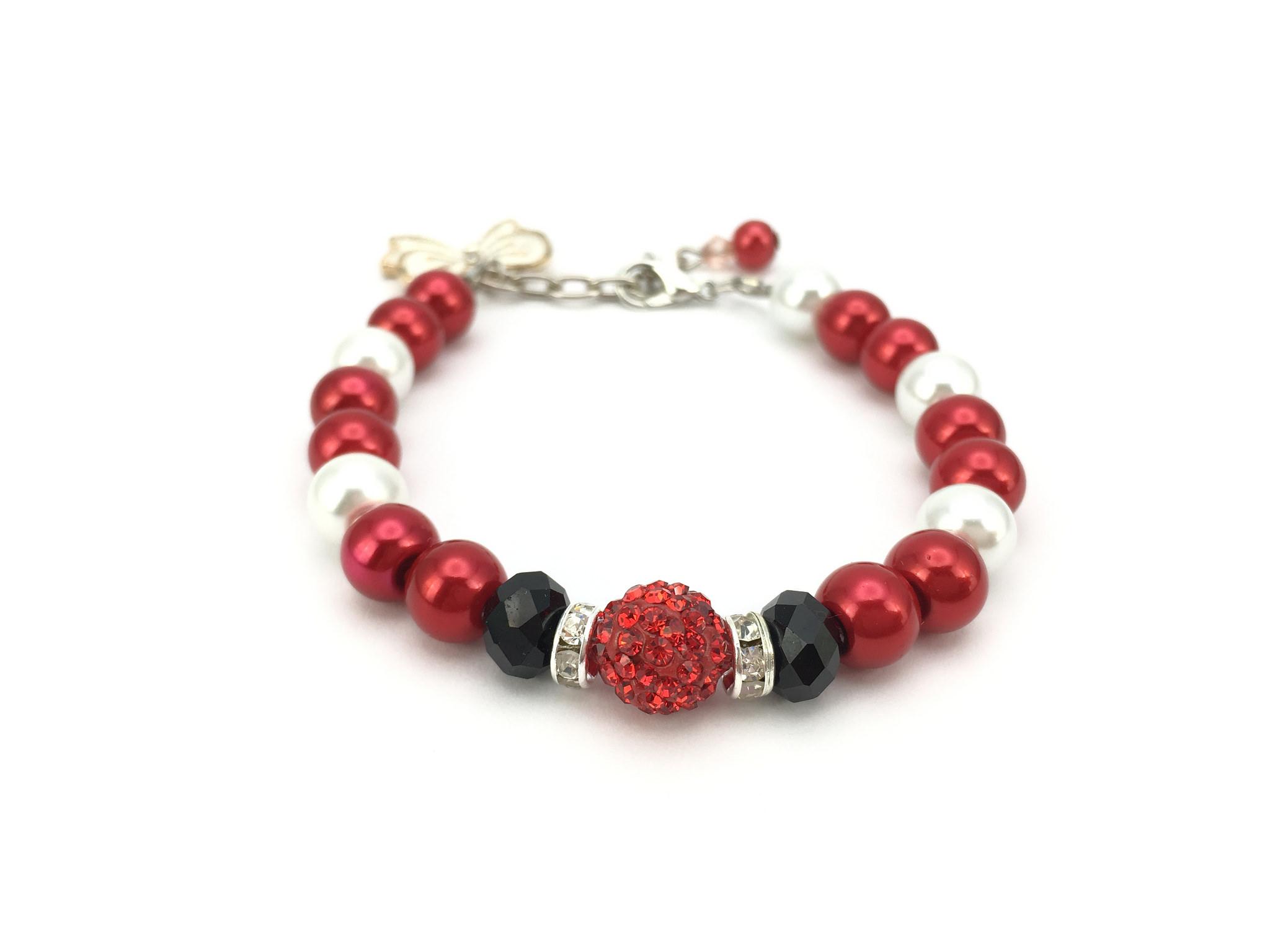 Fiery Red Cherry Bracelet with Ribbon Charm