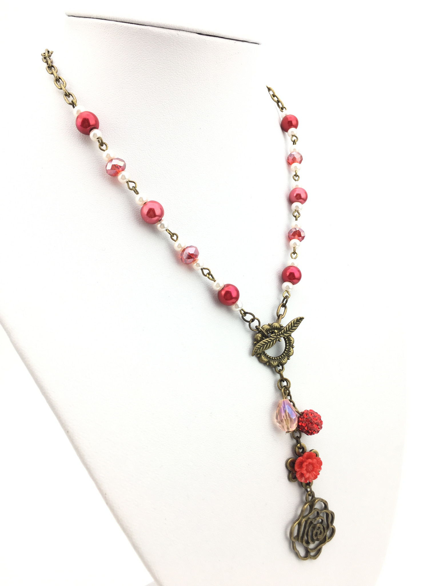 Stunning Handmade Vintage Style Necklace with Red Flower Pendant and Dangling Rhinestone bead and Crystal