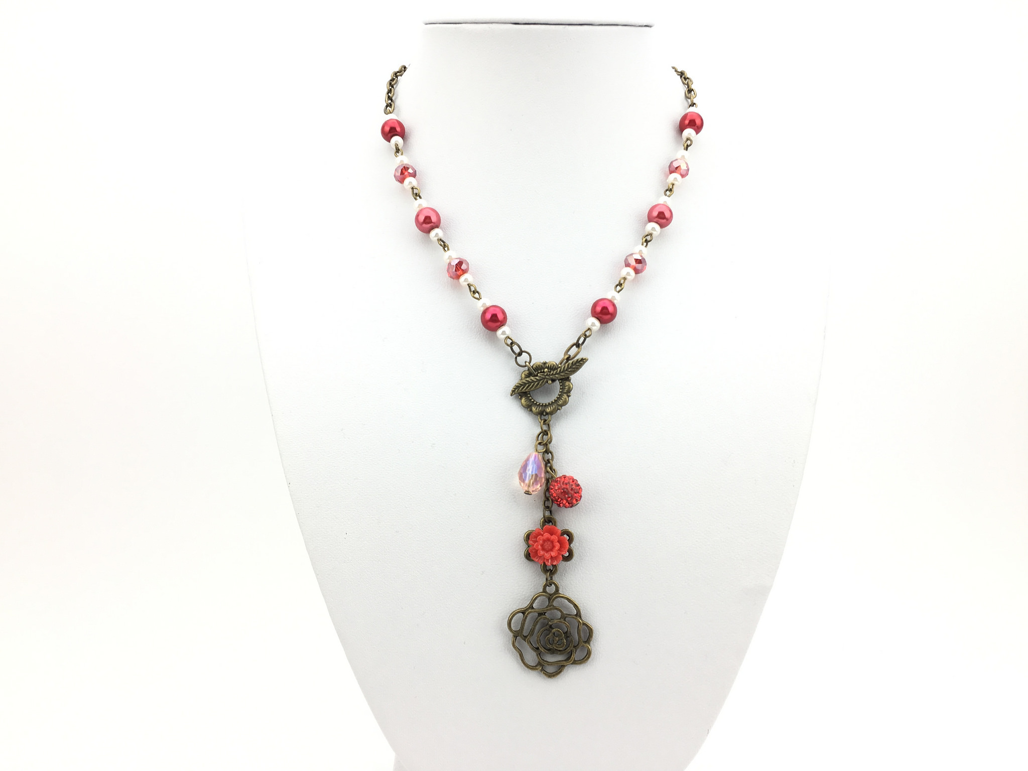 Stunning Handmade Vintage Style Necklace with Red Flower Pendant and Dangling Rhinestone bead and Crystal Front View