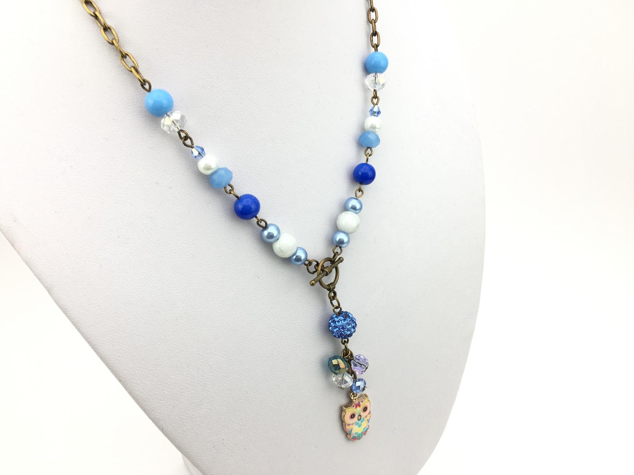 Owl Charm Handmade Necklace in Blue for Kids