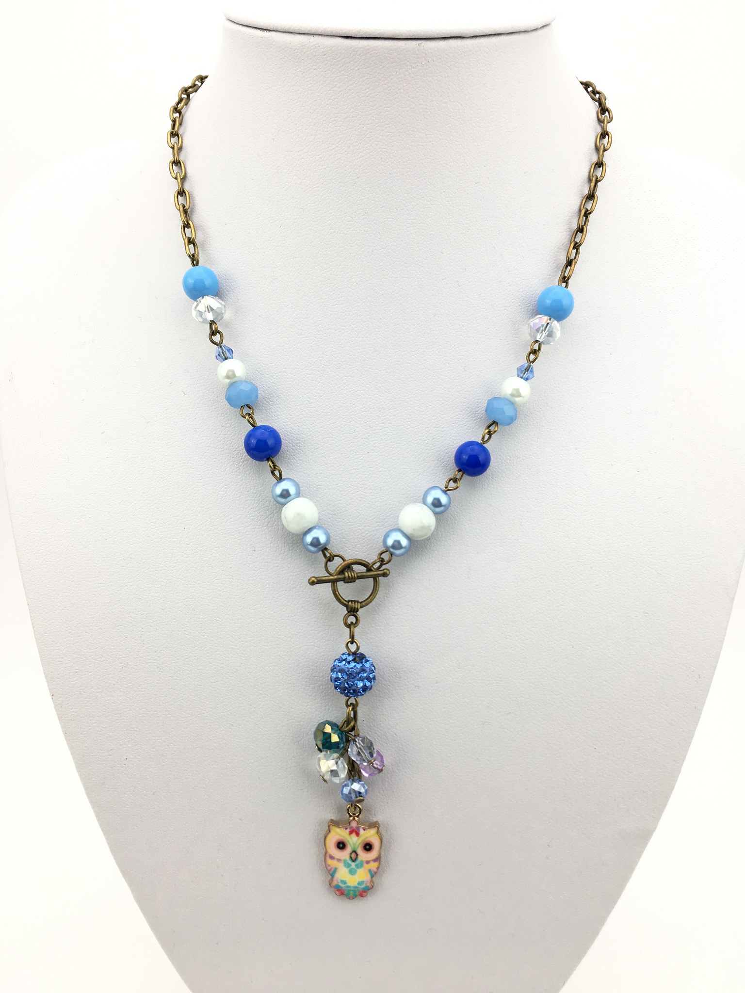 Front view of the Owl Charm Handmade Necklace in Blue for Kids