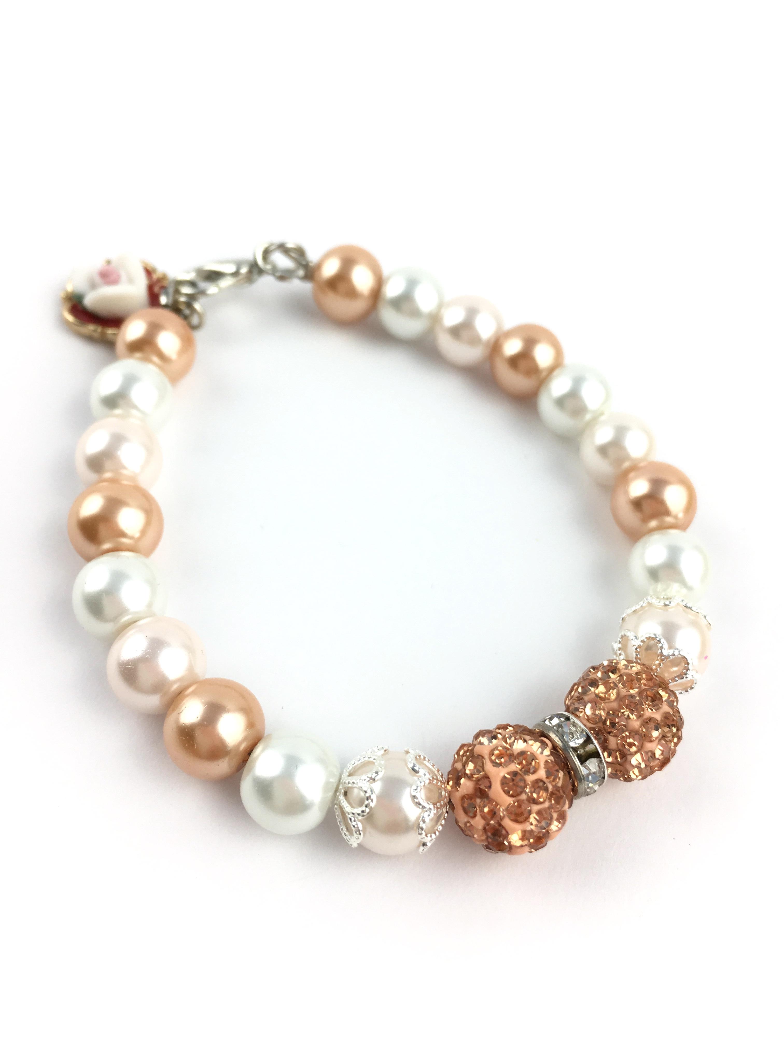 Handmade Bridesmaid Bracelet with Rhinestone Beads and Flower Charm