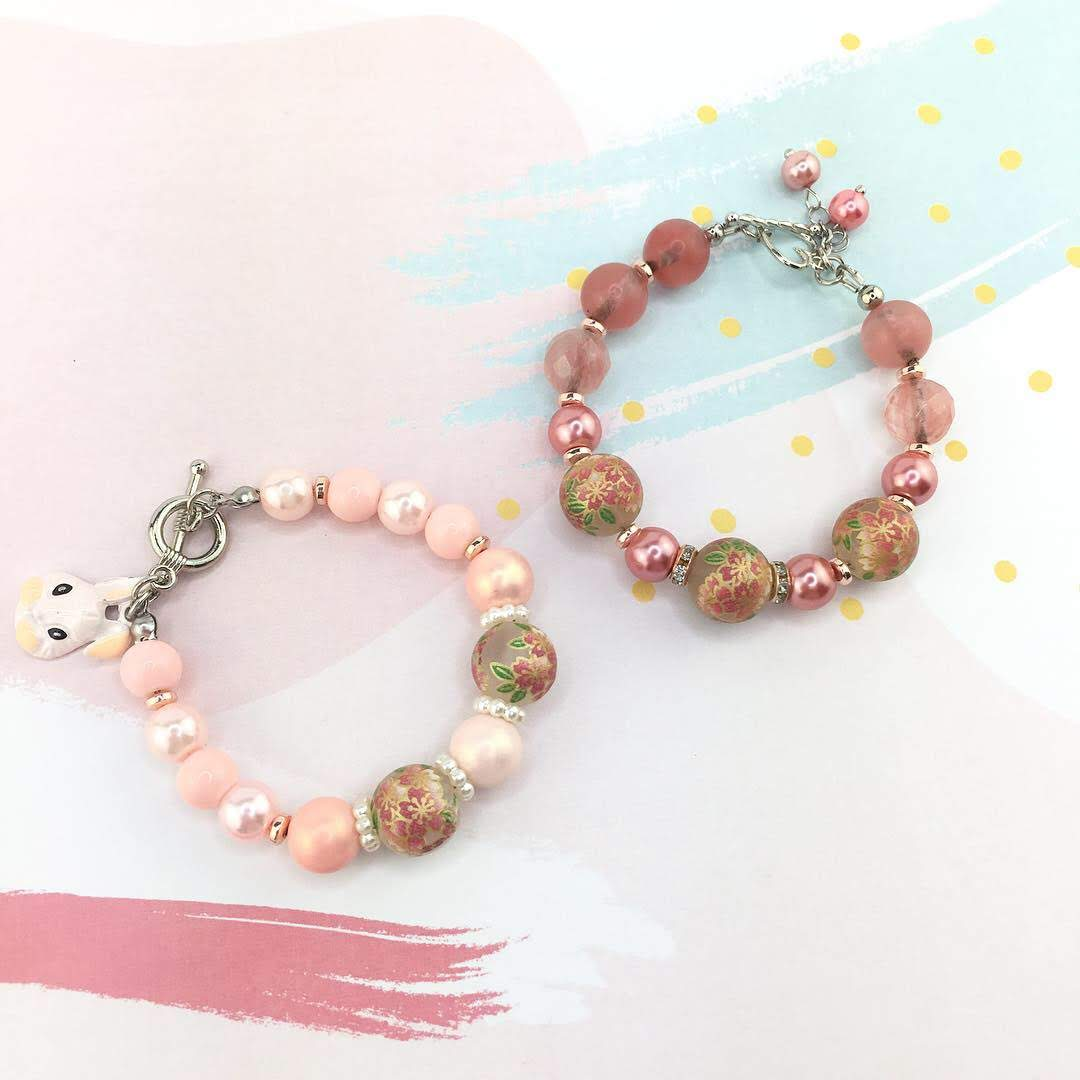 Mother Daughter Floral Tensha Beads with Sakura Pattern