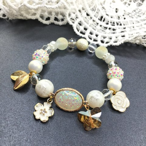 Handmade White Charm Bracelet Stretch with Charms Magnolia.JPG