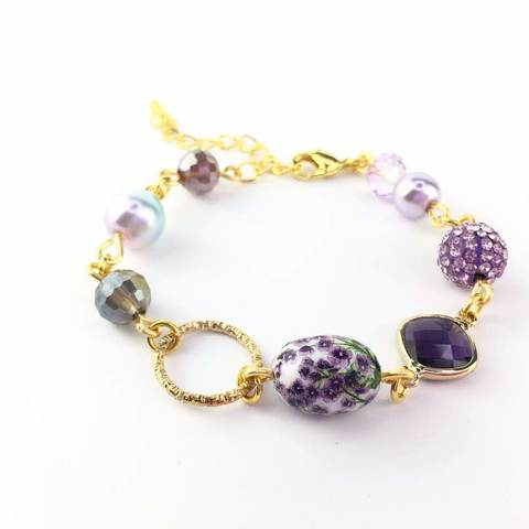 Gold Plated Handmade Bracelet with Purple Tensha and crystal (2).JPG