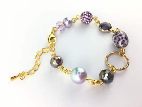 Gold Plated Handmade Bracelet with Purple Tensha and crystal (3).JPG