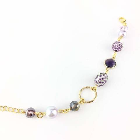 Gold Plated Handmade Bracelet with Purple Tensha and crystal (4).JPG