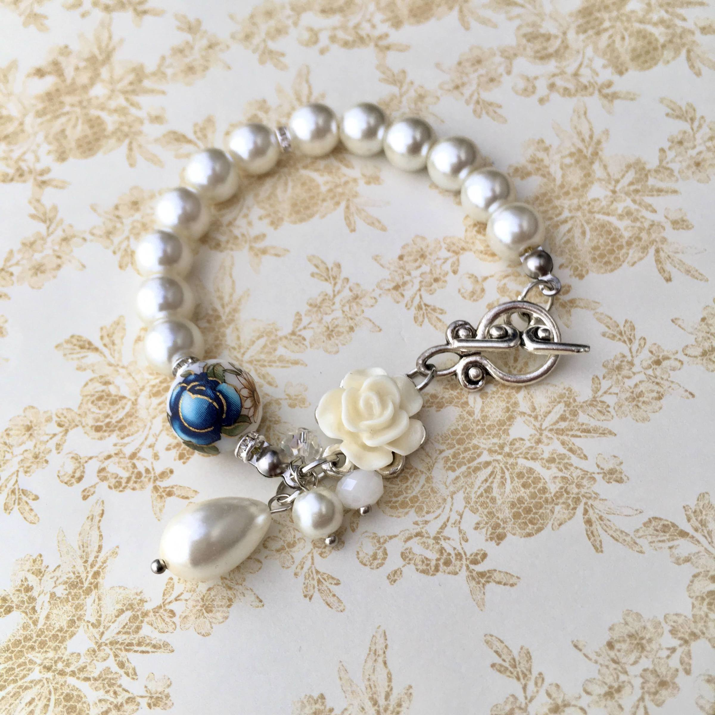 Classic White Elegant Pearl Bracelet with Tensha Floral Bead (7).JPG