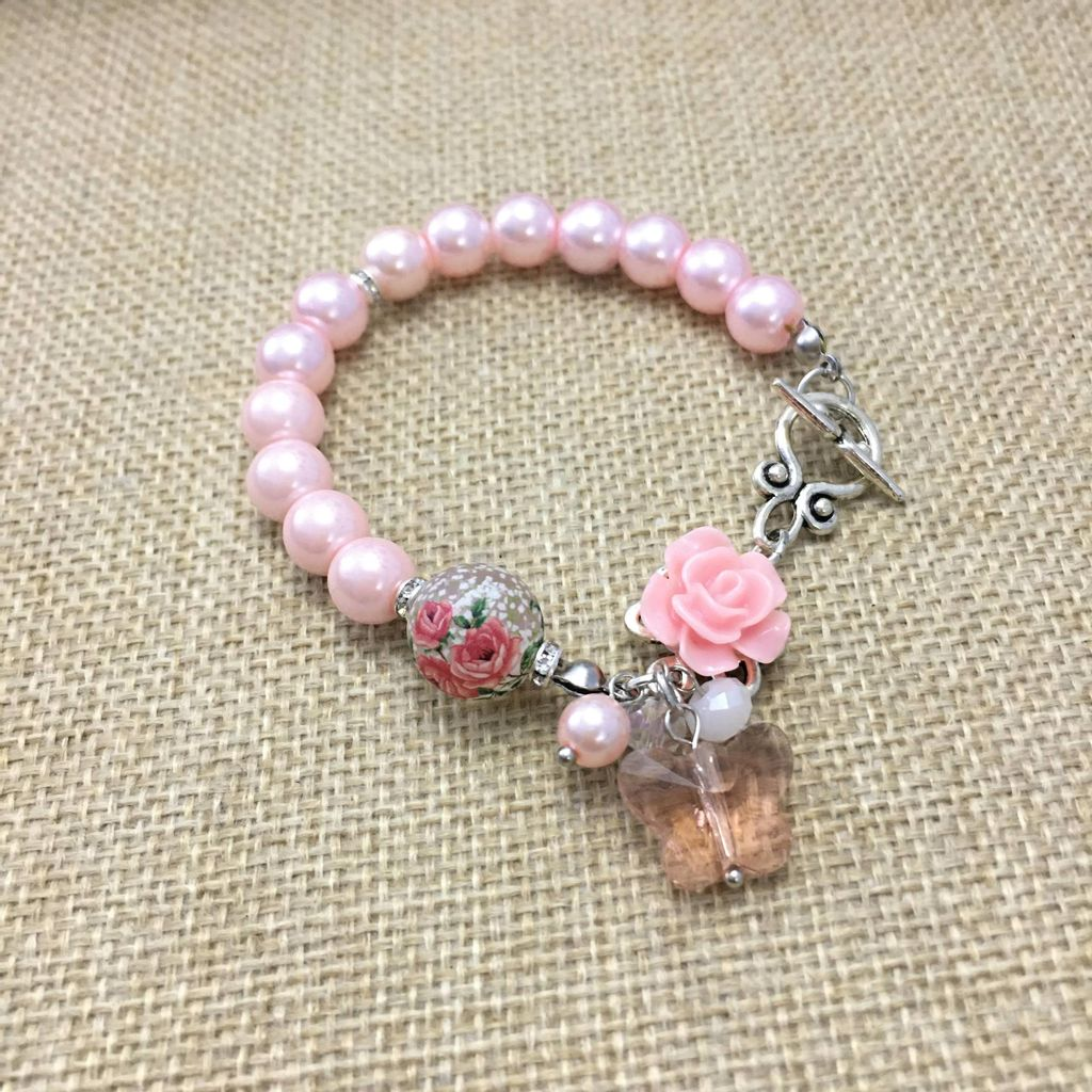 Classic Pink Pearl Bracelet with Roses Tensha Bead and Butterfly Crystal (3).JPG