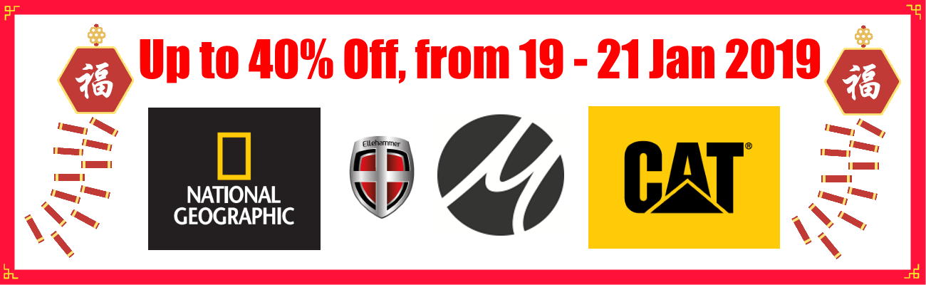Chinese New Year Flash Sales Up to 40% Off National Geographic, Ellehammer, Caterpillar, Matador.