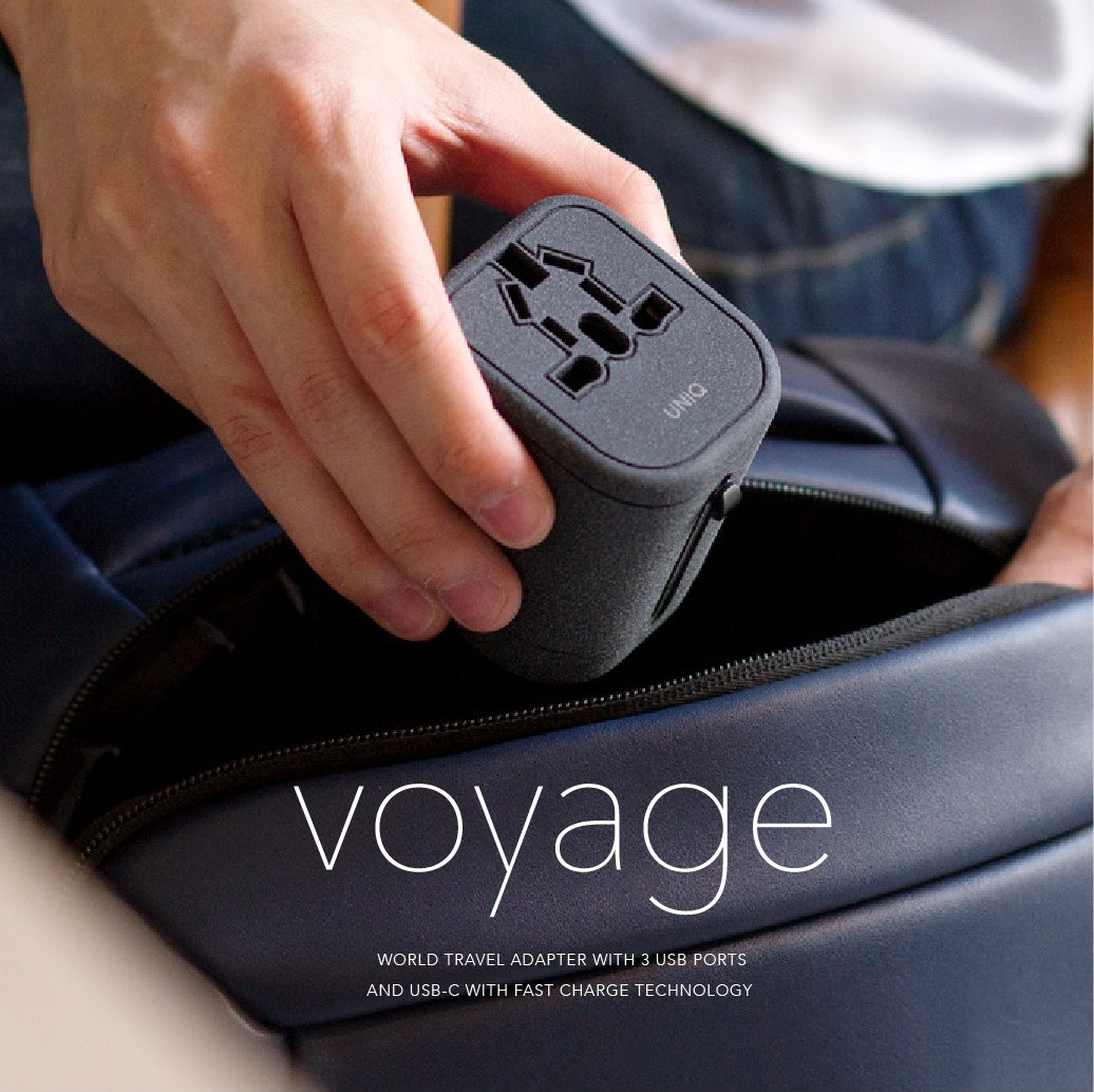 Voyage Travel Adapter with 3 USB and 1 USB C Fast Charge