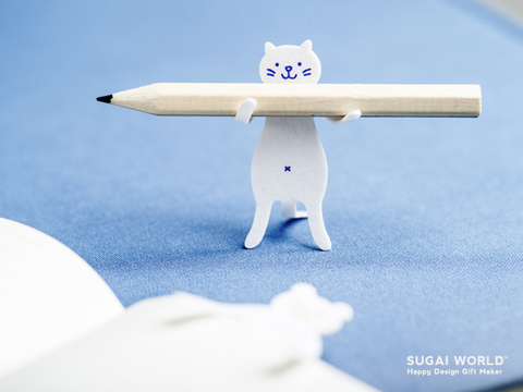 Sugai White Cat Hold Pencil.jpg