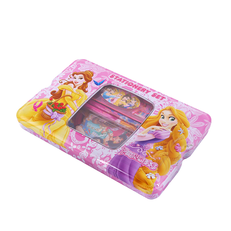 Big Metal Pencil Box Stationery Set Princess