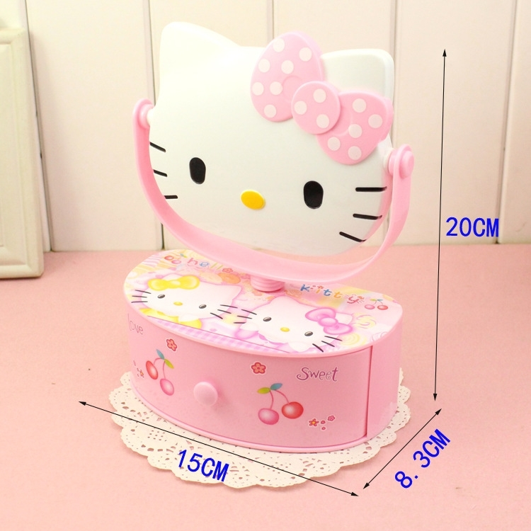 Hello Kitty Mirror Musical Storage Box Pink Color