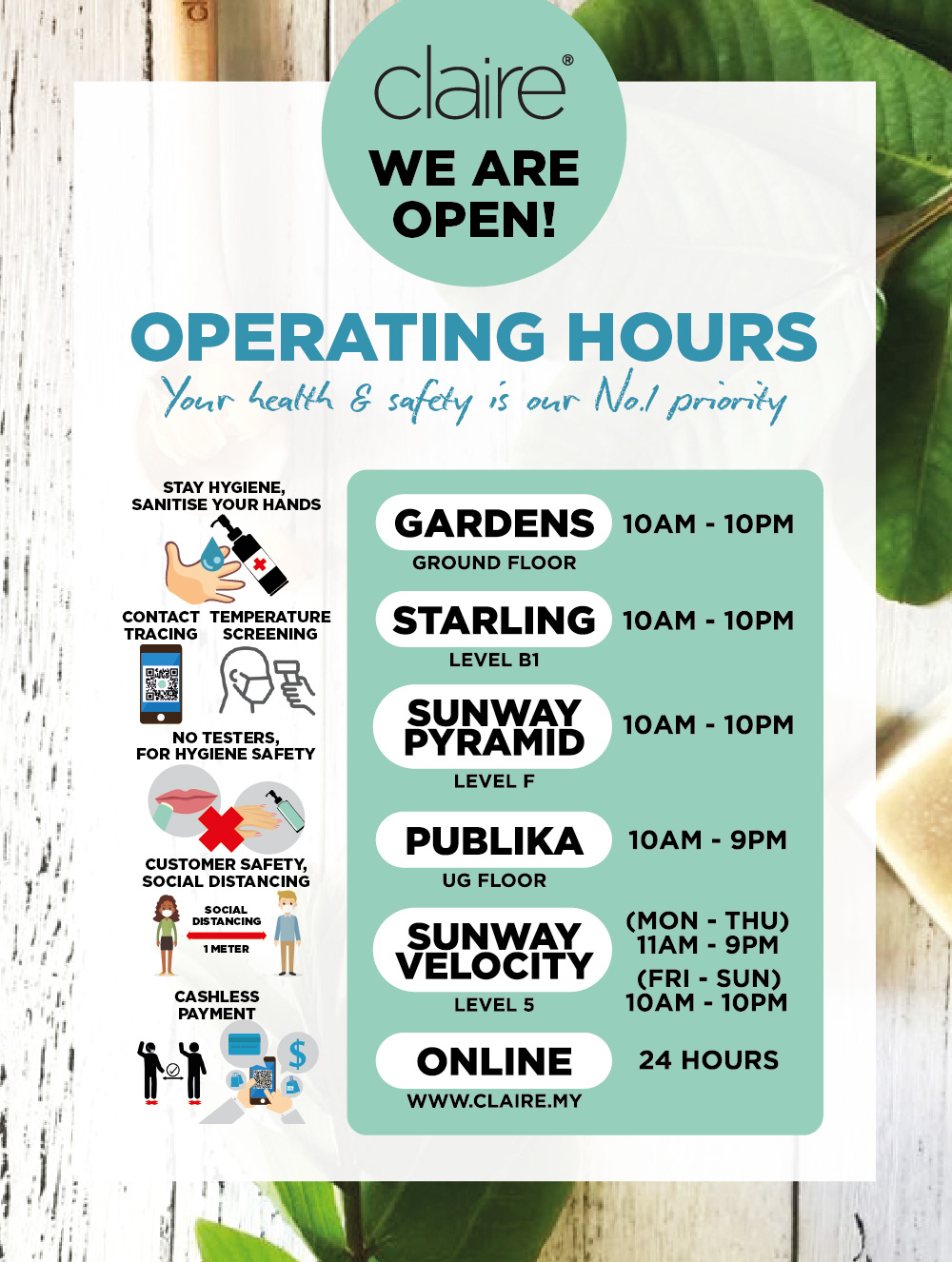 Claire Outlets Operating Hours