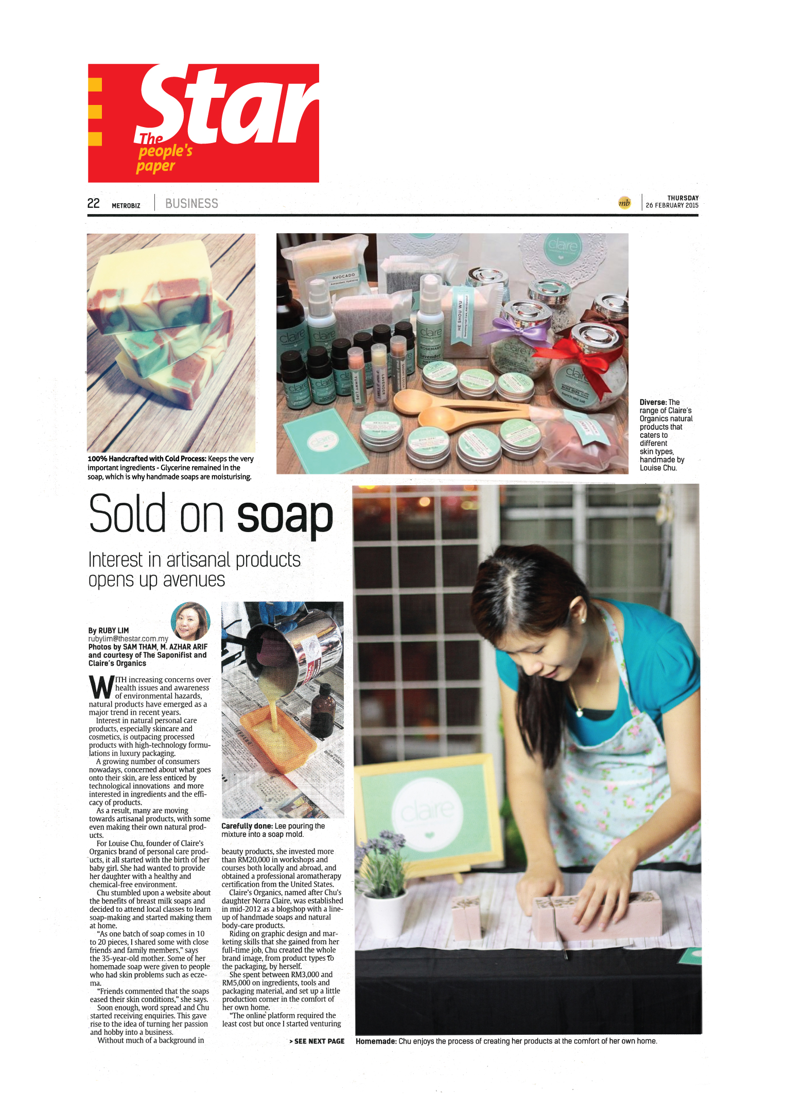 Claire Organics featured on The Star