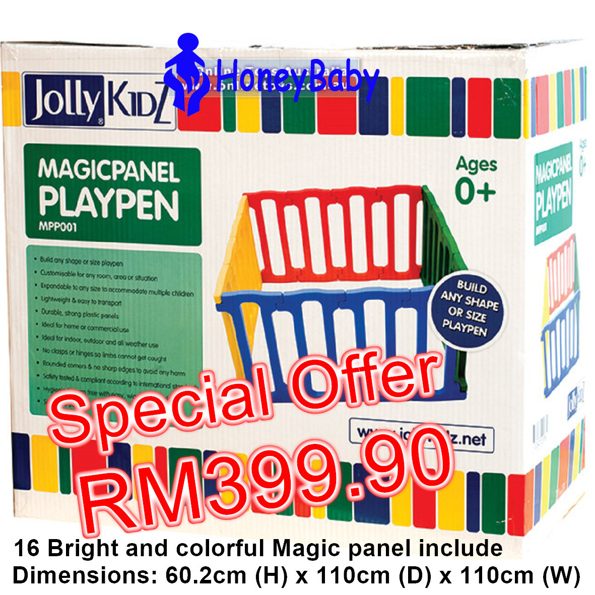 JollyKidz Magic Panel Playpen-16 panel