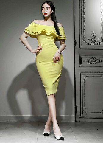 OFF SHOULDER SLIM YELLOW DRESS.jpg