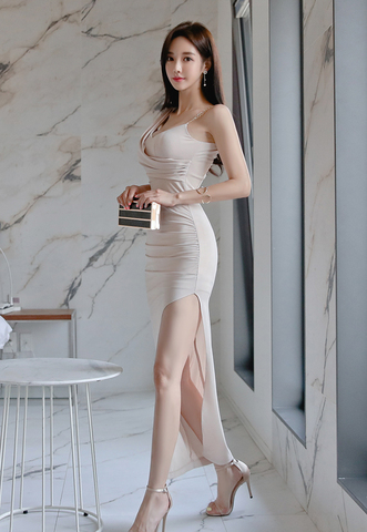 BEIGE SLIM SPLIT SLING DRESS.jpg
