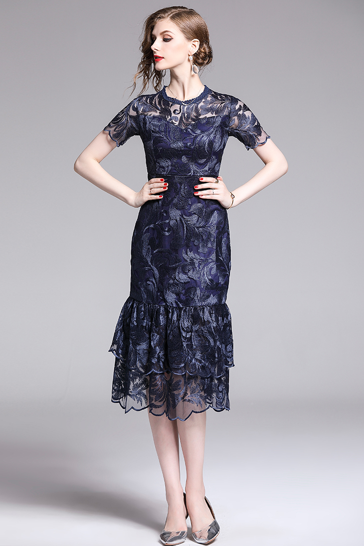 Round Neck Embroidery Navy Fishtail Dress.jpg