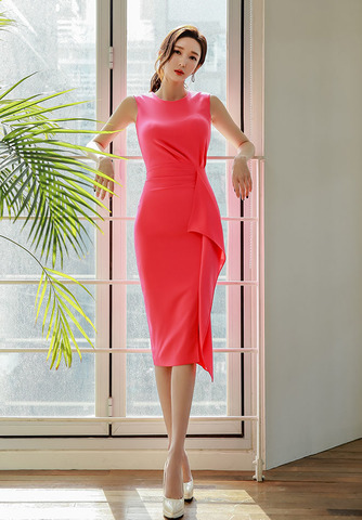 Watermelon Red Ruffled Slim Dress.jpg
