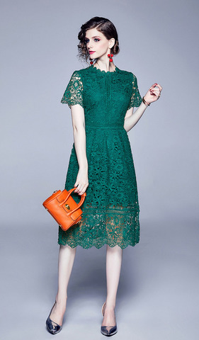 Lace Stitching Hook-flower Slim Dress.jpg
