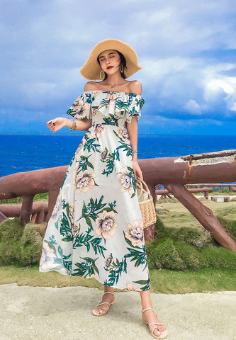 Bohemian Beach Lotus Leaf Chiffon Split Dress.jpg