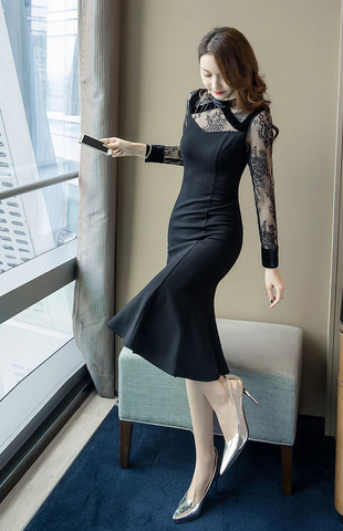 Lace Panel Black Slim Dress.jpg