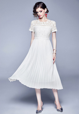 Slim Lace Stitching Chiffon Pleated White Dress.jpg