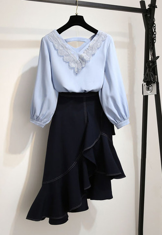 Blue Top + Irregular Slim Skirt.jpg