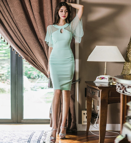 Round Neck Mesh Splicing Slim Dress.jpg