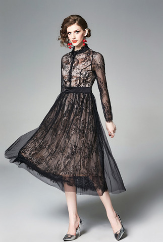 Long-sleeved Stitching Black Lace Dress.jpg