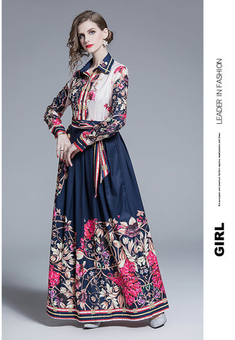 Floral Retro Navy Maxi Dress.jpg
