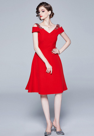 Retro V-neck Red A-Line Dress.jpg