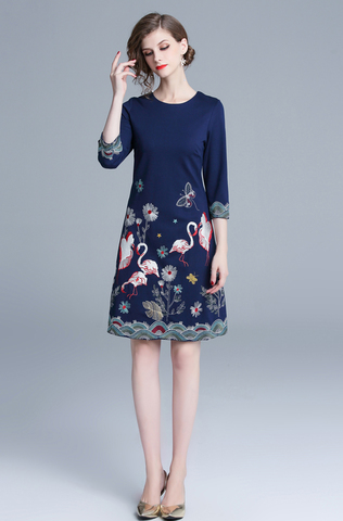 Navy Blue A-Line Embroidered Dress.jpg