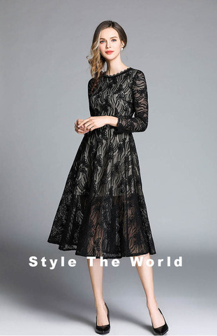 Black Butterfly Lace A-line Midi Dress.jpg