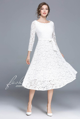 Lace Collar Slim Midi Dress.jpg