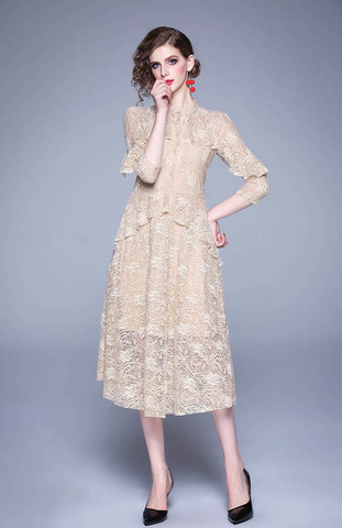 Flocking Slim Elegant Lace Dress.jpg