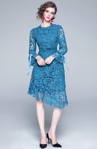 Blue Hollow Lace Slim Dress.jpg