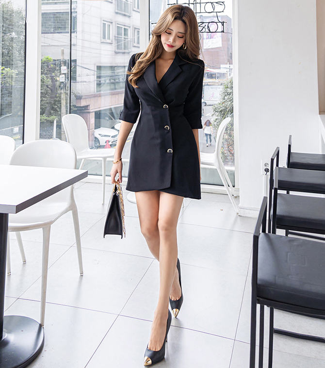Suit Collar Slim Jacket Dress.jpg