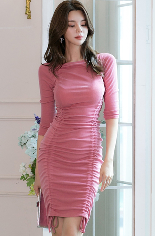 Pink Drawstring Slim Dress.jpg