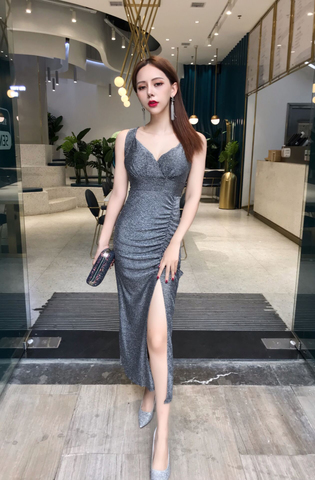 V-Neck Glitter Silver Evening Dress.jpg
