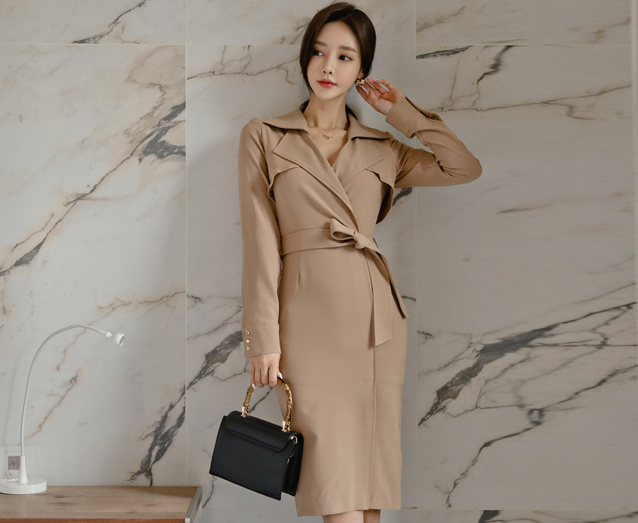 Khaki Split Lapel Slim Dress.jpg
