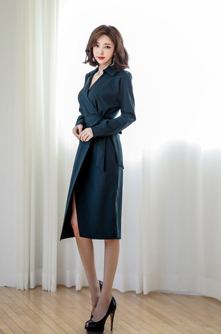 Blue Slit Office Wear Slim Dress.jpg
