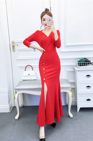 V-neck Retro High Slit Evening Dress.jpg